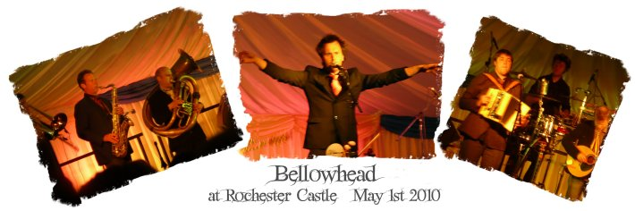Bellowhead - tryptic of pics from Rochester Castle Concert May 1st 2010