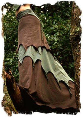 Alienskin faery long skirt in olive and brown layers
