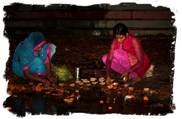 Dev Diwali at Varanasi - girls send their hopes and players with the oil lamps down the Ganges©vcsinden2011
