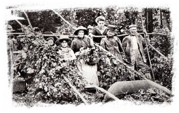 kentish hop pickers, vintage postcard
