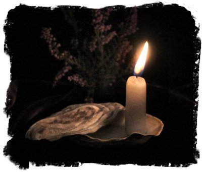 Litha Candle in a Whitstable oyster shell ©vcsinden2013