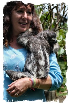 The Toucan Rescue Ranch owner Leslie Howle with sloth friend ©vcsinden2013
