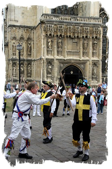 Hop Hoodening at Canterbury Cathedral - Morris dancing in the precinct ©vcsinden2016