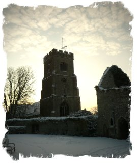 Charing, Kent, Church,t on a snowy early morning