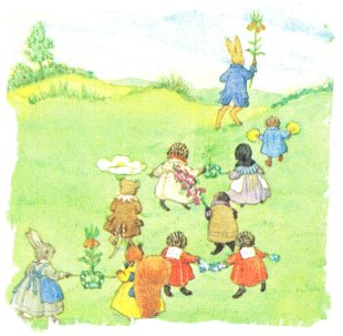 Grey Rabbit's May Day - the animals in May procession up the hill