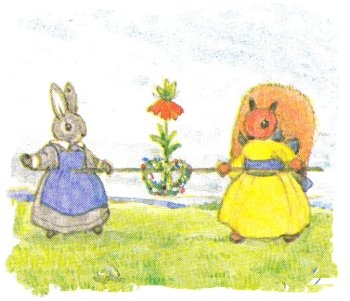 Grey Rabbit's May Day - Little Grey Rabbit and Squirrel hold the May Crown on a hazel stick