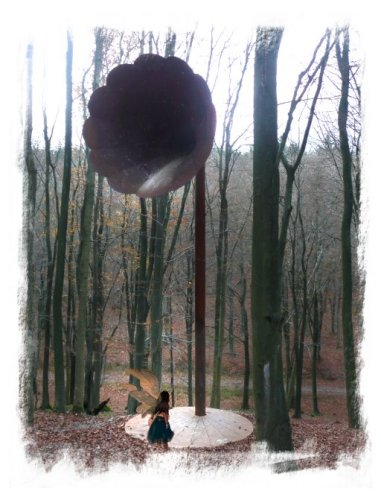 Copper musical horn in Kings Wood, Kent with the fairy listening to the sound of the rain
