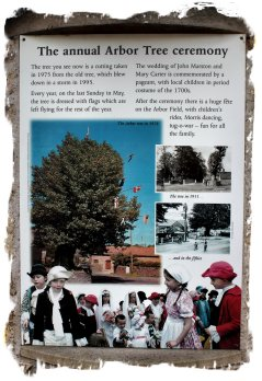 Arbor Tree ceremony - Aston-on-Clun -information poster near tree ©vcsinden2012