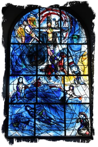 Marc Chagal, stained glass for Sarah - main window in All Saints, Tudely, Kent, UK