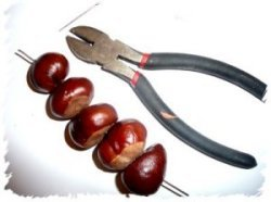Pliers and conkers on wire
