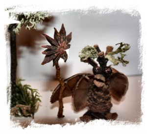 Pine cone crafts - the Drimble Seer with his star-anise staff ©vcsinden 2012