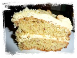 Slice of haelnut cake from crafts page - Ogham name Coll - a fairy cake!