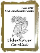 Elderflower cordial  label - from the Eco-enchantments faery.