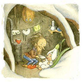 Root Man looks after snowdrop baby before the Spring - Ida Bohatta-Morpurgo