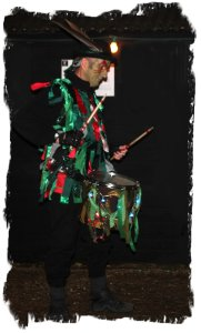 A dummer from Pentacle Drumers, Eastbourne at The Lewes Wassail